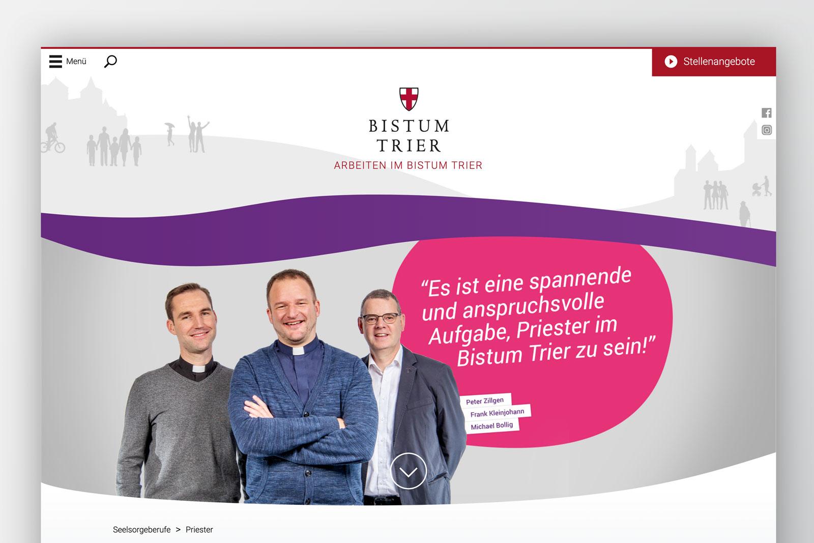 """Webseite """"Wir glauben an Dich"""" – Screen Priesterberuf"""