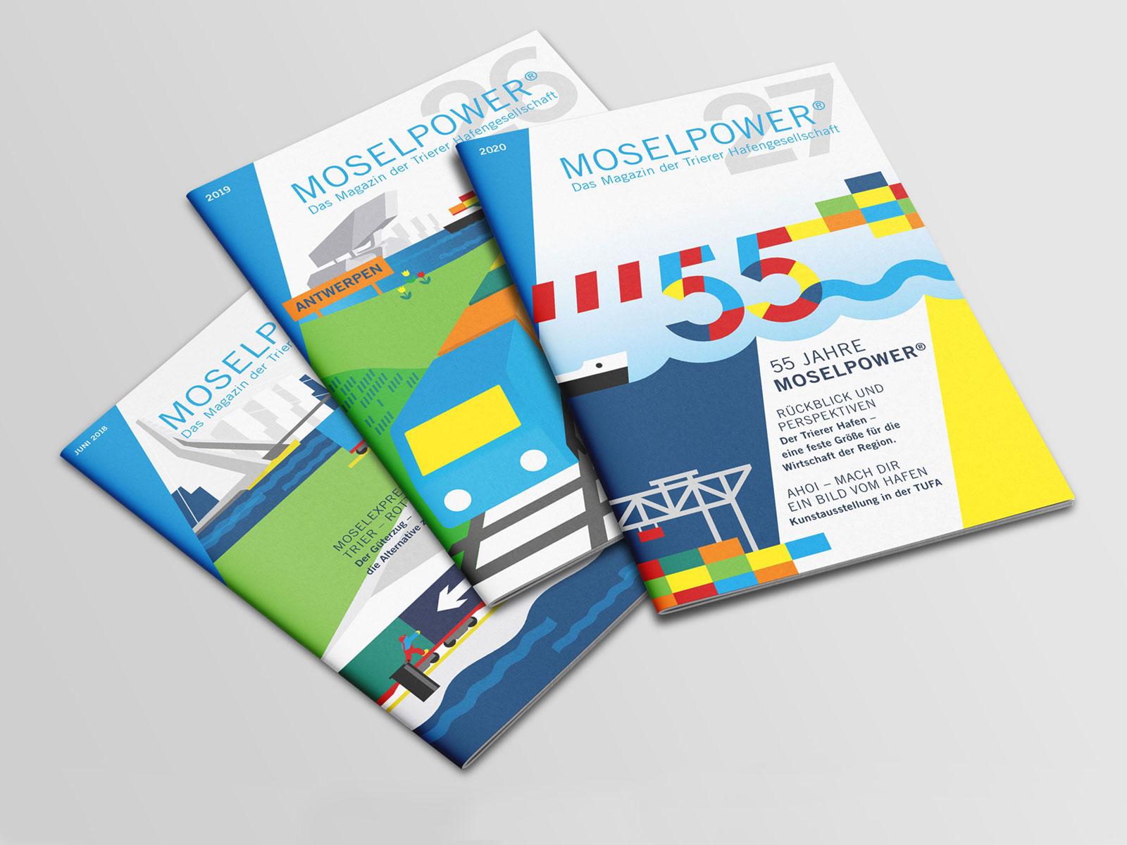 Coverdesign Magazin Moselpower für den Hafen Trier