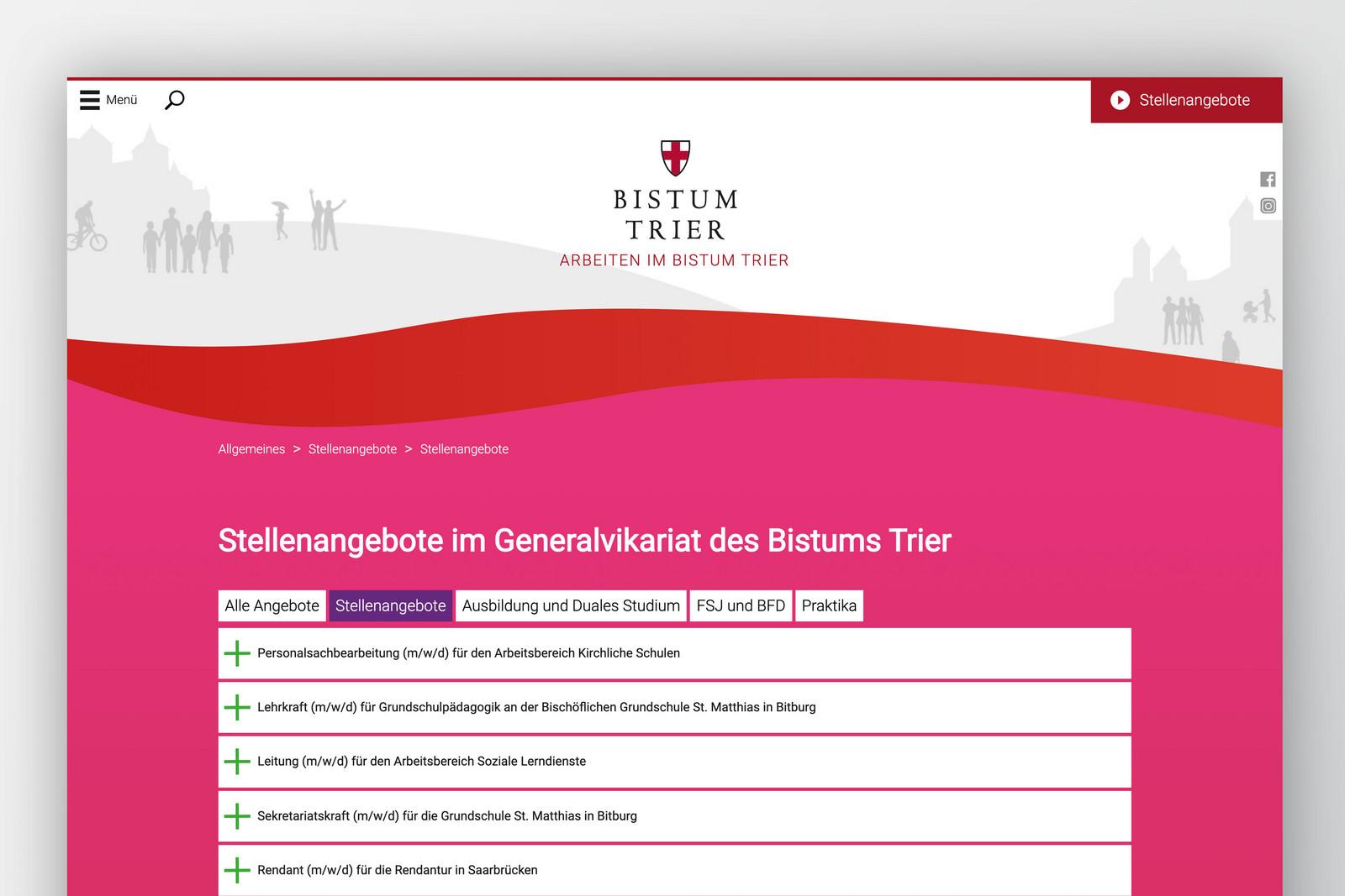 """Webseite """"Wir glauben an Dich"""" –Screen Stellenangebote"""