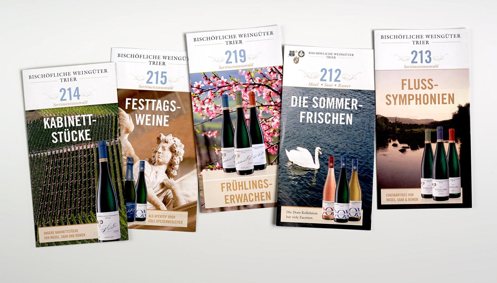 Verschiedene Flyer für die Bischoeflichen Weingüter Trier
